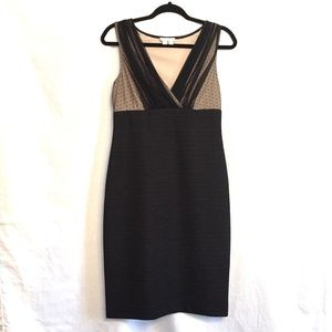 London Times Fitted Size 6 Black Nude Dress